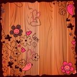 Valentine-illustratiekrabbels op houten achtergrond Stock Afbeelding