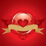 Valentine illustration. St. Valentines day, illustration, emblem with banner Stock Photos