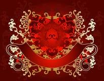 Valentine illustration. A detailed gold on red Valentine Day illustration with a blank red banner below a transparent heart stock illustration