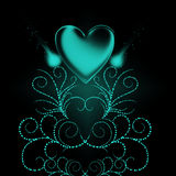 Valentine Illustration. Abstract Valentine illustration with green heart Stock Images