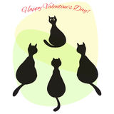 Valentine illustration with cats in love. Valentine illustration with four cats in love Royalty Free Stock Image