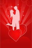 Valentine illustration with a couple's silhouette. On an abstract background Stock Photo