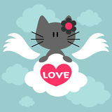 Cute kitty angel with a heart Stock Photos