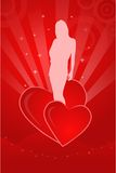 Valentine illustration with a girl's silhouette. On an abstract background Stock Image