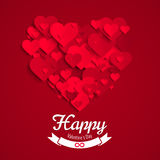 Valentine illustration, heart shape made of red paper hearts, greeting card template Stock Image