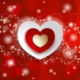 Valentine illustration with hearts on red background Royalty Free Stock Photo