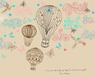 Valentine illustration, hot Air Balloon in sky, hand drawn Backg. Round for Design with hearts and birds Stock Photography