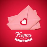 Valentine illustration, pink envelope with heart, greeting card Royalty Free Stock Photos