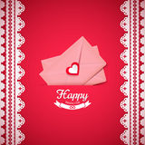 Valentine illustration, pink envelope with heart, greeting card Royalty Free Stock Image