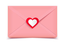 Valentine illustration, pink envelope isolated on white background, greeting card Royalty Free Stock Image