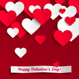Valentine illustration, red and white paper hearts on red background, greeting card Stock Images