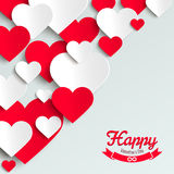 Valentine illustration, red and white paper hearts on white background, greeting card Stock Photo