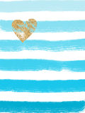 Valentine image - blue stripes, gold heart Royalty Free Stock Image