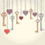 Valentine Invitation Card With Keys And Hearts Stock Photography