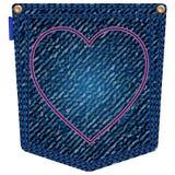 Valentine jeans pocket Stock Photography
