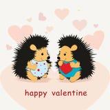 Valentine-kaart met egelsminnaars en harten - vector stock illustratie
