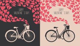 Valentine-kaart met fiets Stock Afbeeldingen