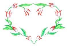 Valentine-kaart met hand geschilderde tulpen Royalty-vrije Stock Afbeeldingen