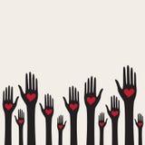 Valentine-kaart met handen met harten Stock Afbeelding