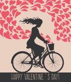 Valentine-kaart met meisje op fiets Royalty-vrije Stock Afbeeldingen