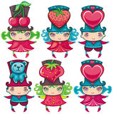 Valentine kids. With festive top hats Royalty Free Stock Image