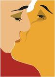 Valentine kiss. Llustration of two lovers kissng excelent for valentine Royalty Free Stock Photo