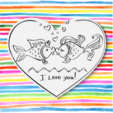 Valentine, Kiss of two fishes drawing Stock Photo