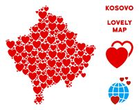 Vector Valentine Kosovo Map Collage of Hearts. Valentine Kosovo map collage of red hearts. We like Kosovo map concept. Abstract vector area plan is shaped with royalty free illustration