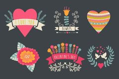 Valentine label set Valentine`s Day emblems. Vector illustration Vintage love collection. Laurel, wreath. flag. Tribal. Royalty Free Stock Photo