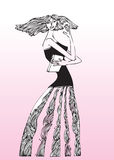 Valentine lady. Hand drawn illustration of a beautiful valentine girl Royalty Free Stock Images