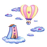 Valentine landscape with heart shaped flying balloon and cute house on fluffy clouds. Stock Photo