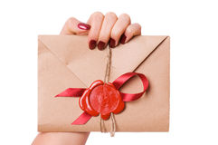 Valentine letter. (isolated on white royalty free stock image