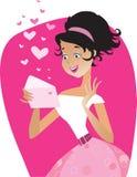 Valentine letter. Vector illustration of a girl reading love letter Stock Illustration