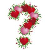 Valentine letter. Question mark - with heart, bow, ribbon and leaf royalty free illustration
