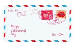 Valentine letter in envelope. Vector vector illustration