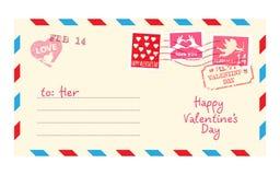 Valentine letter in envelope. Vector royalty free illustration