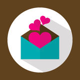 Valentine letter, flat icon with long shadow, vector Royalty Free Stock Photography