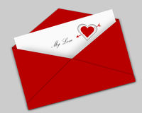 Valentine letter. Greeting card and envelop on grey background Royalty Free Stock Photo