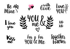 Valentine lettering love collection Stock Images