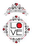 Valentine-liefdekrabbels Stock Foto's