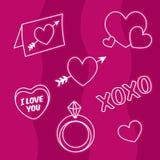 Valentine-liefdepictogrammen, harten, verlovingsring, liefdebrief Stock Foto
