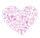 Valentine, liefdepictogrammen, vectorillustratie Stock Fotografie