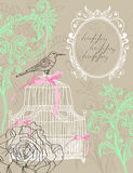 Valentine light brown background with cage. Valentine hand drawing light brown background with flowers and cage Stock Image