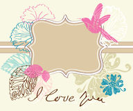 Valentine light brown background with label. Valentine hand drawing light brown background with flowers Royalty Free Stock Photo