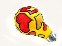 Valentine light bulb Royalty Free Stock Images