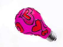 Valentine light bulb Stock Photography