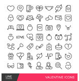 Valentine line icons. Premium outline Valentines days celebration icons set, which is fully scalable Stock Images