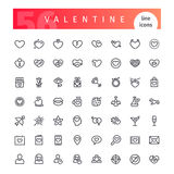 Valentine Line Icons Set. Set of 56 Valentines Days line icons suitable for your romance projects. on white background. Clipping paths included.r royalty free illustration