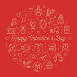Valentine line icons, Valentines Day signs Love symbols. Circle infographics Royalty Free Stock Image