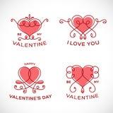 Valentine Line Style Vector Heart floral agraciado Fotografía de archivo libre de regalías